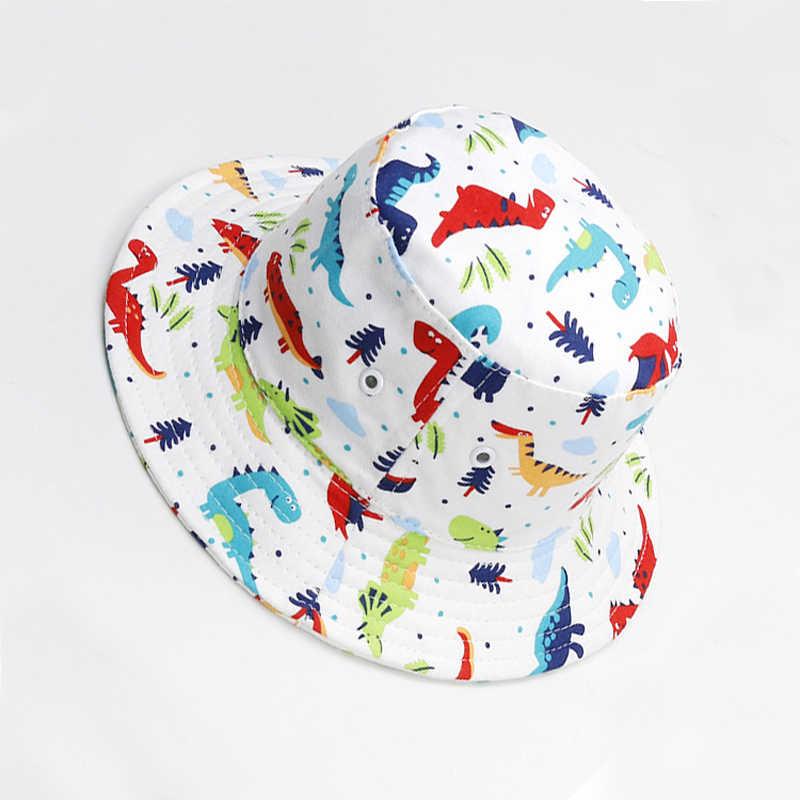 e994f5a32 ... Ostia Children Boys Sun Hats Spring Summer Panama Caps Cotton Zoo  Animal Dinosaur Patterns Bucket Hat ...