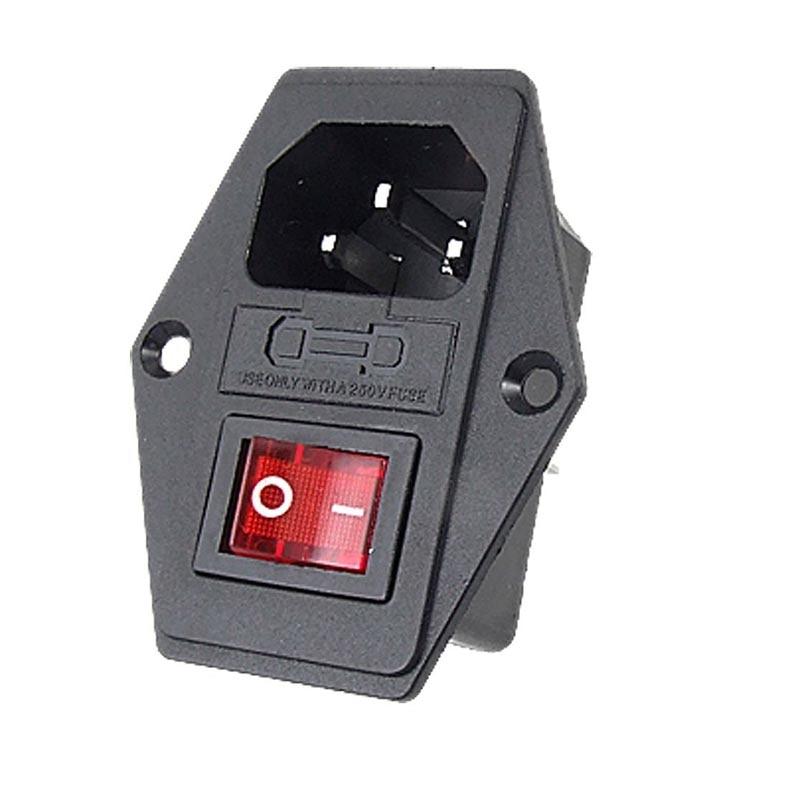 Новый 10 А 250 В Входной модульный штепсель с переключателем предохранителей, штепсельная розетка с 3 контактами IEC320 C14