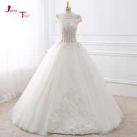 Joky Quaon Boat Neck Three Quarter Sleeve See Through Back White Appliques Solemn Mermaid Wedding Dress
