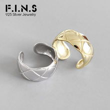 F.I.N.S 925 Sterling Silver Rings for Women Simple Gold Wide Rhombus Lattice Open Finger Ring Female Jewelry