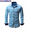Normen brand clothing hombres camisas a cuadros camisa de los hombres de moda de la manga completa causal streetwear tamaño eur chemise homme camisa masculina