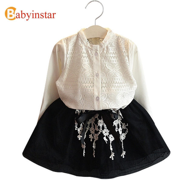 Babyinstar New Arrival 2017 Children's Sets White Hollow Blouse + Floral Pattern Mesh Skirt Kids Suits Spring Girls Clothing Set