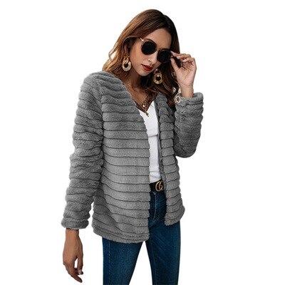 cou Manteau 2018 Veste Mince De Hiver Couche Gris Lapin Nouveau Femmes Conception Qualité Mode Taille Haute Faux Fourrure V Grande 4Fwpz8xZq8