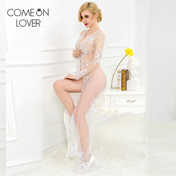 Comeonlover 2017 New fashion transparent pure wedding wear white lace lingerie handmade long sleeve nightdress maxi sex babydoll 2