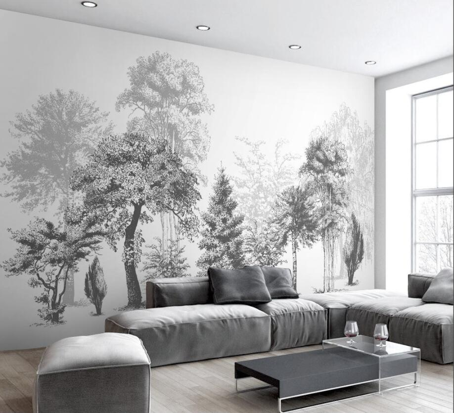 Custom Wallpaper House Decorative Mural Black And White Trees Sofa TV Background Murals 3d wallpaper papel de parede Beibehang beibehang custom wallpaper giant mural painting super aesthetical dream forest moonlight whole house wall murals papel de parede