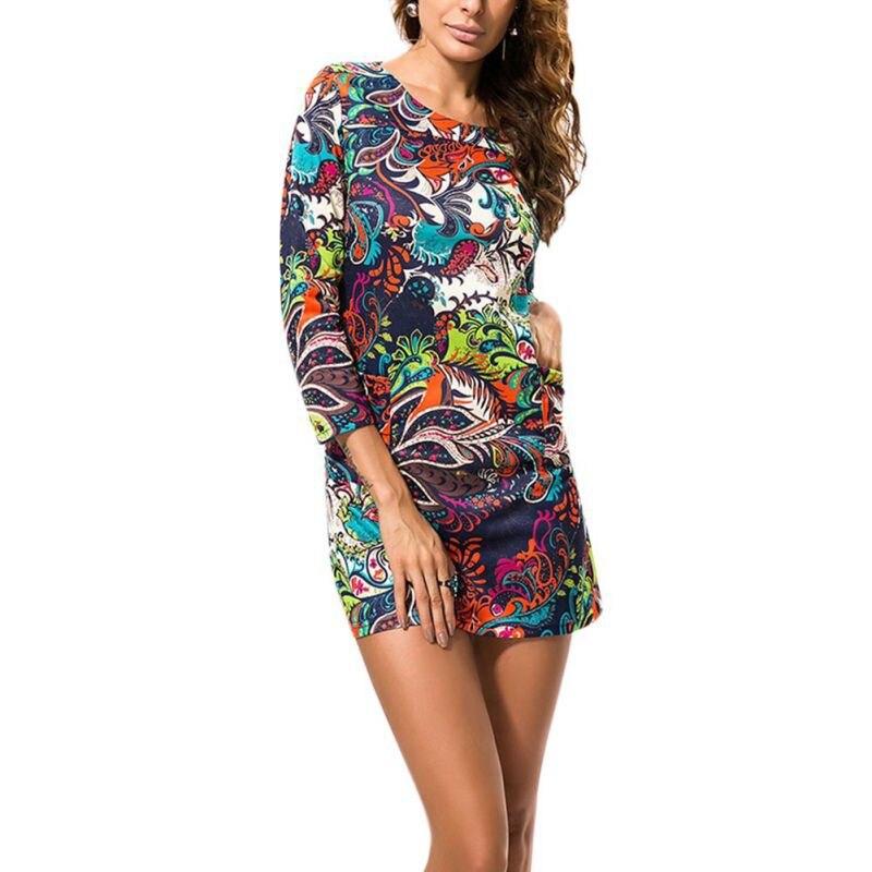 Spring Women's Plus Size Flower Print Long Sleeve Dresses Casual Clothing Women Fashion O-neck Dress P1