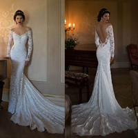 Long Sleeve White Lace Mermaid Berta Bridal 2015 Lace Boho Wedding Dresses Sexy Backless Off The