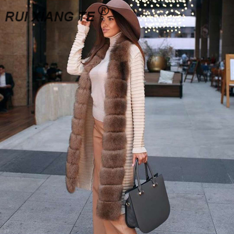 Women Real Fur Coat Genuine Wool Knitting With Fox Collar Warm Winter Coat Real Fox Fur Coat Winter Long Outerwear RuiXiangTe