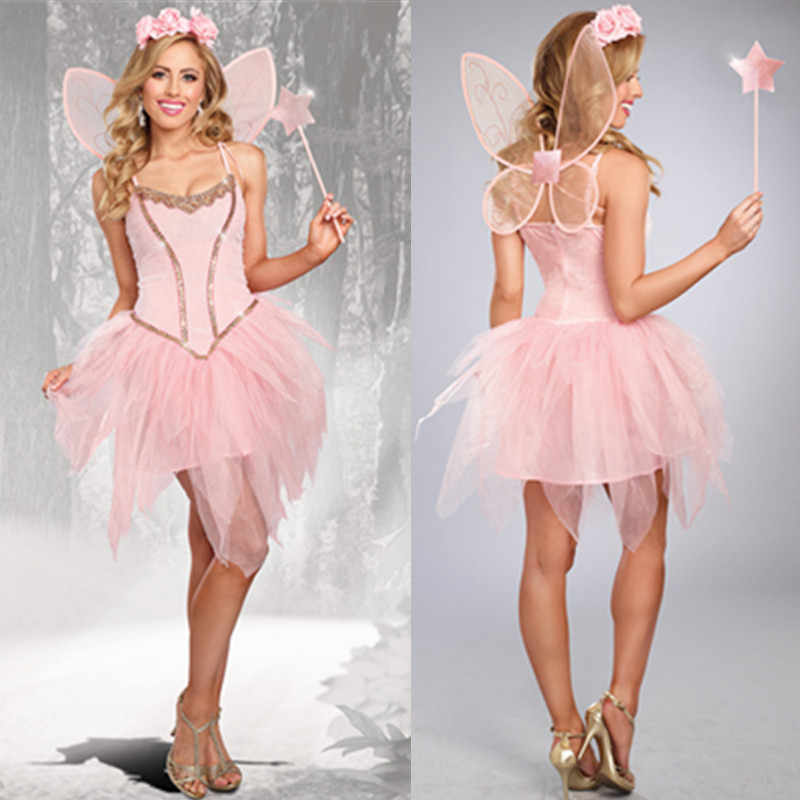 4Pcs/Set Halloween Costume For Adult Women Princess Tinker Bell Costumes Hen Party Pink Angel Elf Flower Fairy Dress With Wings