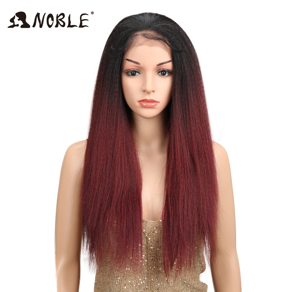 Noble Brown Color Yaki Straight Natural Hairline 22 Heat Resistant Fiber Daily Synthetic Lace Front Wigs For Women