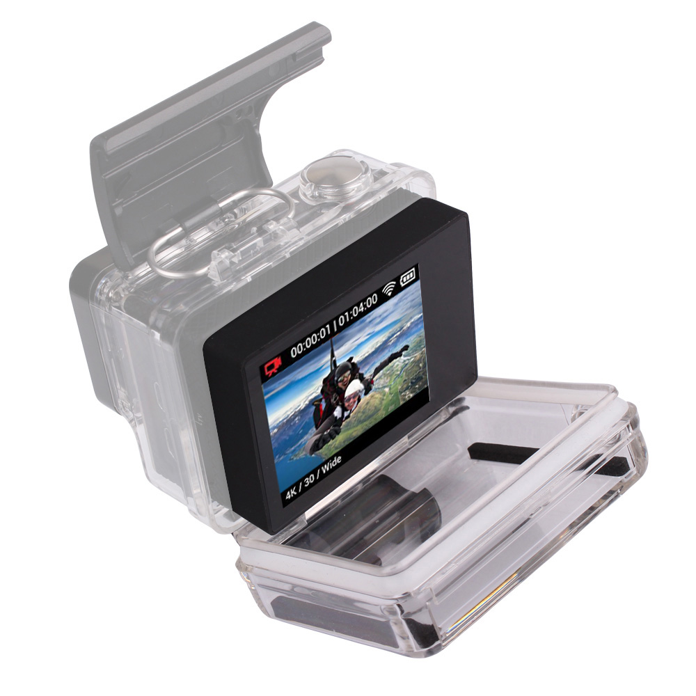 Para gopro bacpac display lcd monitor go pro herói 3 3 + 4 bacpac tela lcd + voltar porta caso capa para gopro hero 3 3 + 4 acessórios