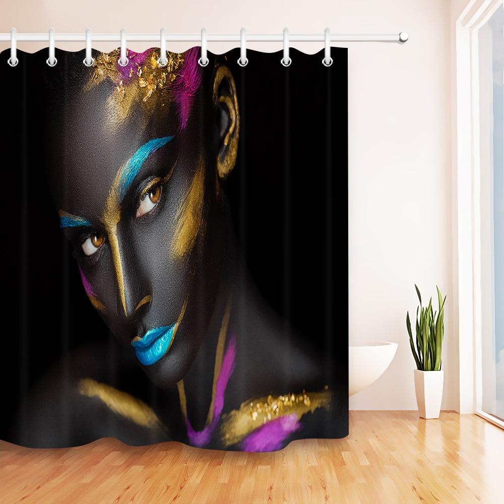 Woman Shadow Polyester Waterproof Bathroom Fabric Shower Curtain 12 Hook
