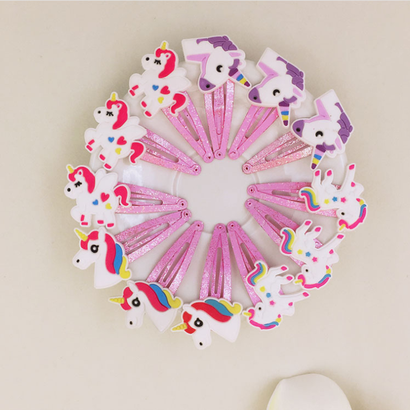 10pcs/lot Unicorn Horse Hair Clips Lovely Animal PVC Cartoon Hairpins Girls Hair Accessories Barrette   Headwear