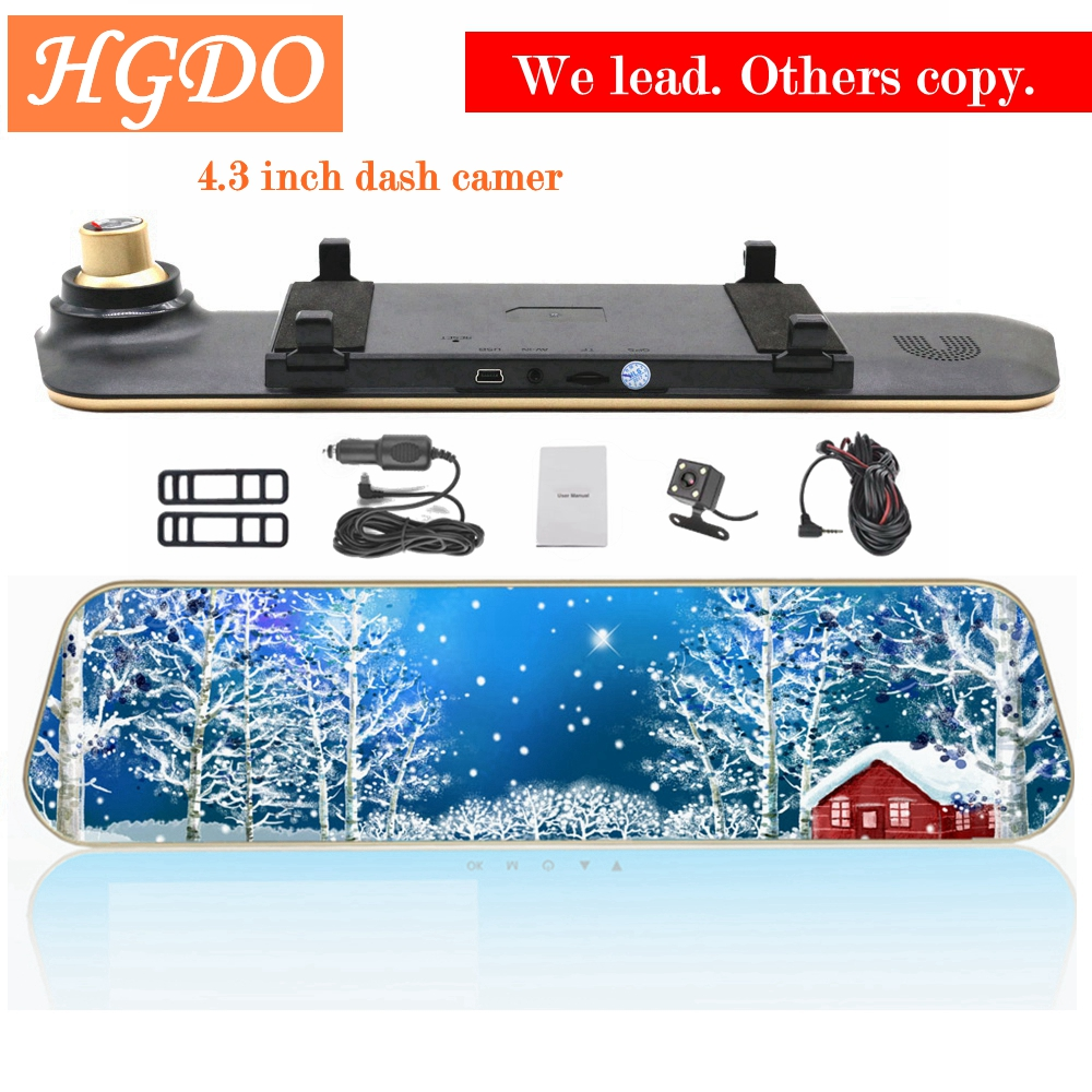 HGDO Full HD 1080 p coche dvr espejo retrovisor con lente Dual cámara de visión nocturna Dash Cam dvr Digital grabadora de Video DVR Blak caja