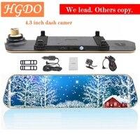 HGDO Full HD 1080P Car Dvrs Rear View Mirror With Dual Lens Camera Night Vision Dash Cam dvr Digital Video Recorder DVR Blak Box