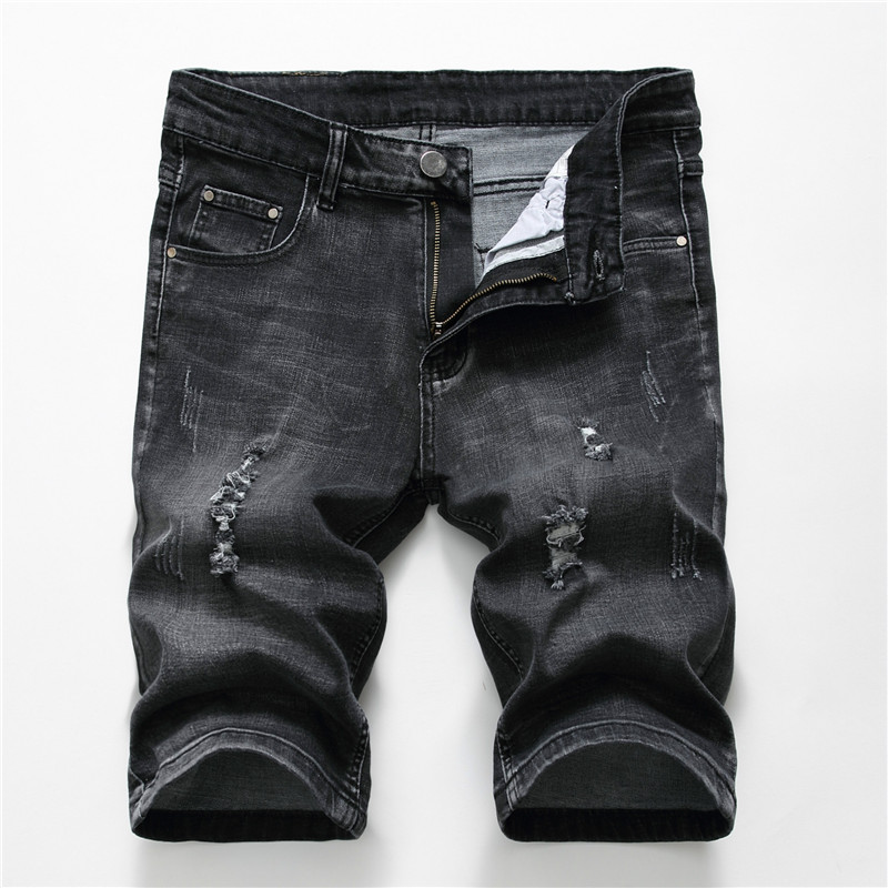 Hot Summer Denim Shorts Men Stretch Slim Fit Short Jeans Mens Designer Cotton Casual Distressed Black Shorts Knee Length Shorts