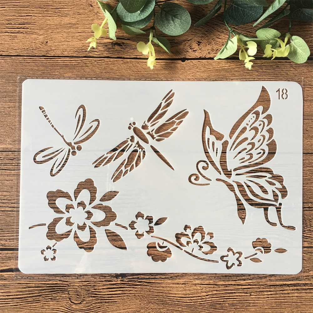 26cm Butterfly Dragonfly Flower DIY Craft Layering Stencils Painting Scrapbooking Stamping Embossing Album Card Template