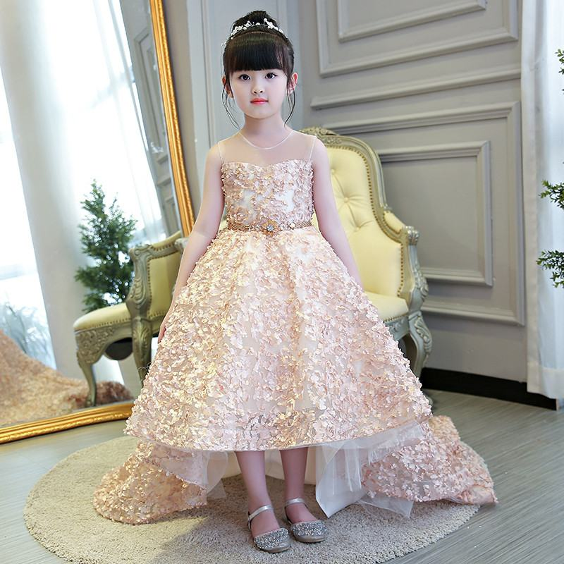 2019 New Kids Girl Lace Appliques Princess Party Dress Children First Communion Gown Baby Girl Beads Mesh Trailing Vestido Q7122019 New Kids Girl Lace Appliques Princess Party Dress Children First Communion Gown Baby Girl Beads Mesh Trailing Vestido Q712