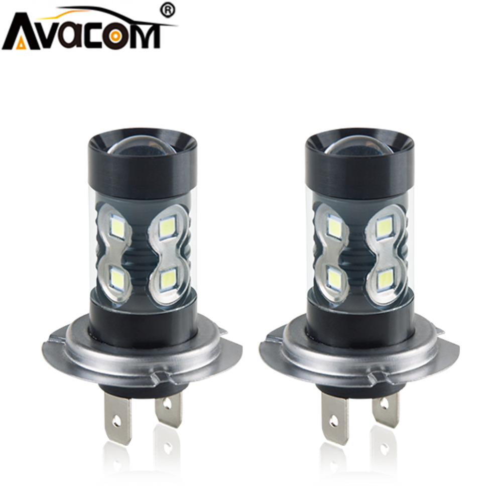 Avacom 2Pcs LED H11/H8/H9 Car Fog Light 12V 24V H1 H3 H7 9005/HB3 9006/HB4 1200lm 6000K White/Yellow/Blue Daytime Running Lights 2pcs 12v 24v h8 h11 led hb4 9006 hb3 9005 fog lights bulb 1200lm 6000k white car driving daytime running lamp auto leds light