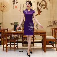 Traditional Chinese Women Satin Dress Vintage Button Qipao Novelty Sexy Flower Mini Stage Show Cheongsam Plus Size M 3XL