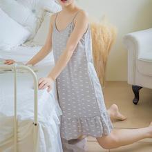 Summer Womens Sling Loose Nightdress Women Sleep Dress Cotton Printed Girls Sleepwear Nightgown Clothes S-2xl Plus Size