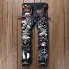 Men`s Embroidered tiger head Jeans Pant Pleated Biker jeans Gothic Hole Ripped Club night slim straight Cool Jeans For Young Men