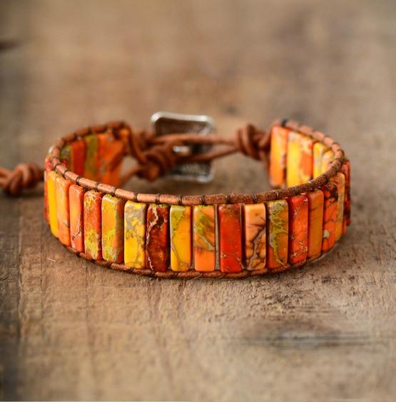 Unisex Bohemian Bracelets Tube Natural Stonse Single Leather Wrap Bracelet Beaded Couples Bracelet Bestfriend Gifts Dropship(China)
