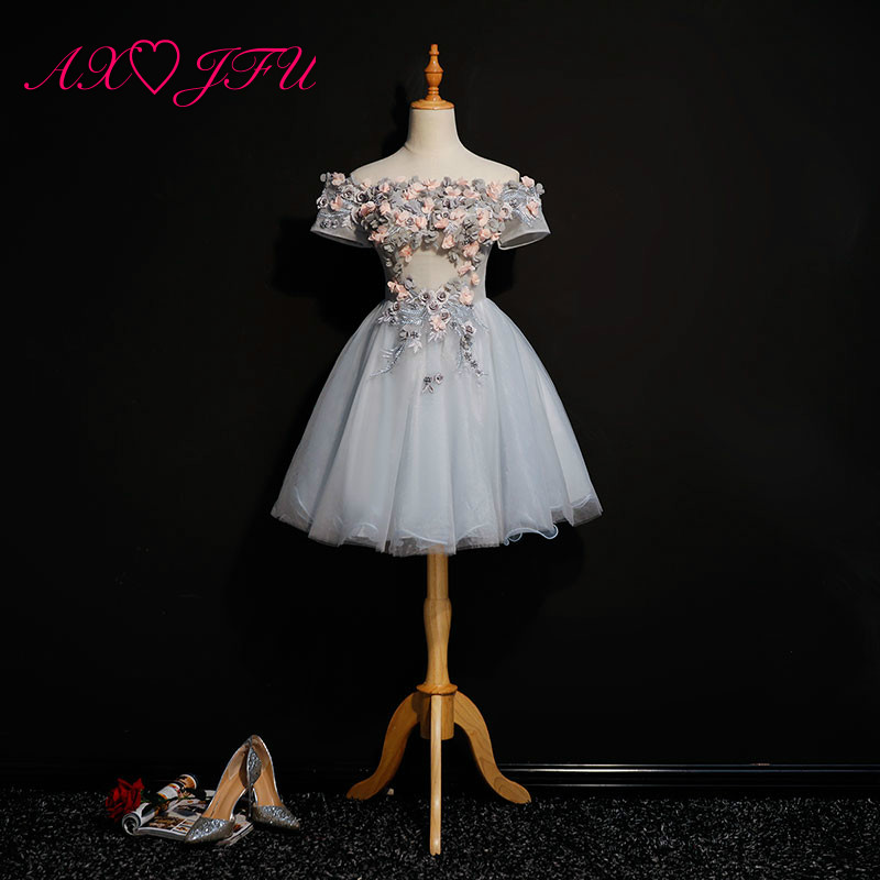 AXJFU princess grey lace flower   evening     dress   stage vintage illusion o neck beading peals flower host short   evening     dress
