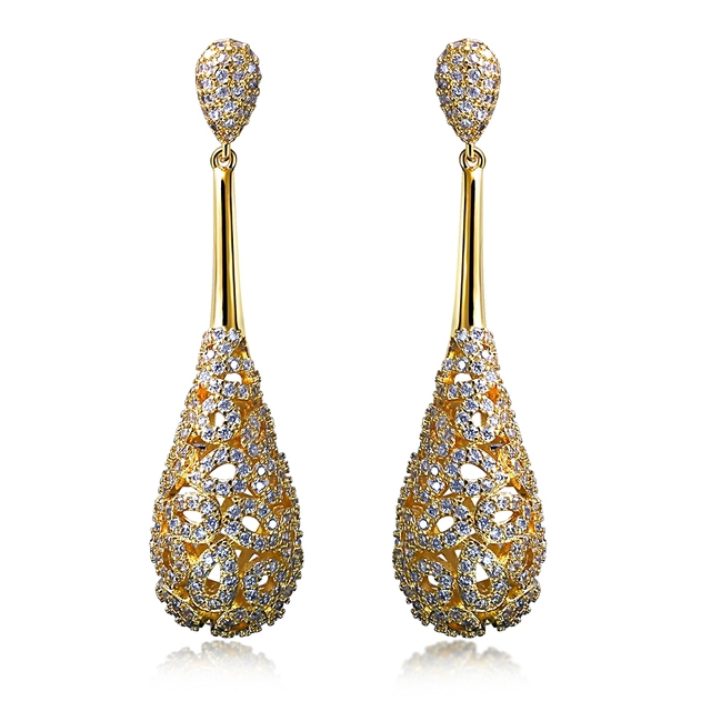 Casual Luxury Long Drop Earrings White Gold Color High Quality Cubic Zirconia Women Fashion Jewelry