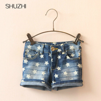 SHUZHI New Arrive Summer Style Baby Girls Jeans Shorts Kids Denim Shorts Stars Jeans Shorts For