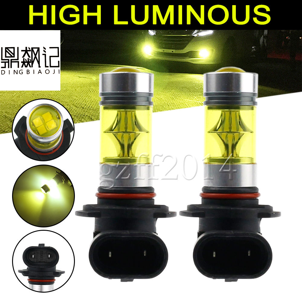 2pcs  100w 4300k white yellow H1 H3 H4 H7 H8 H11 9006 H13 9004 9007 9005 HB3 2323 LED Fog Light Driving Bulb DRL