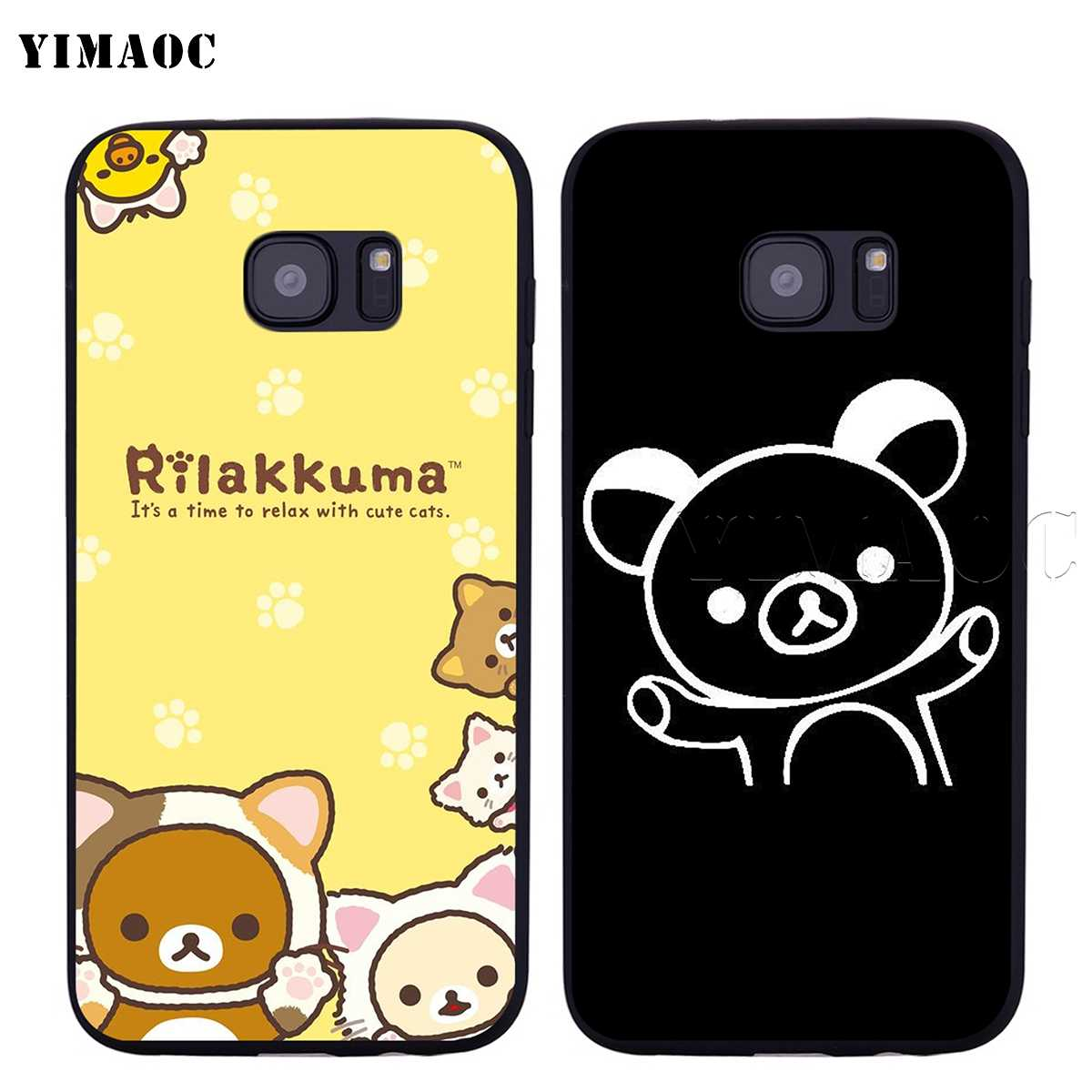 competitive price 99eaa 0af16 YIMAOC Rilakkuma Relax Bear Soft Silicone Case for Samsung Galaxy S6 S7  Edge S8 S9 Plus A3 A5 A6 Note 8 9
