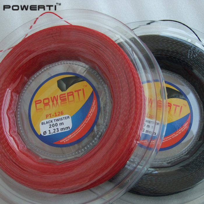 Top quality POWERTI PT126 Hexaspin twister polyester tennis string 200m/reel tennis racket big banger new replacement 200m reel racquet tennis string power rough 1 25mm tennis racket string promotion soft nylon tennis racket line