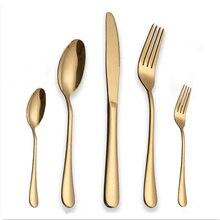 30Pcs/Set Black Dinnerware Set 304 Stainless Steel Golden Dinner  Knives Forks Scoops Cutlery Set Tableware Christmas Gift