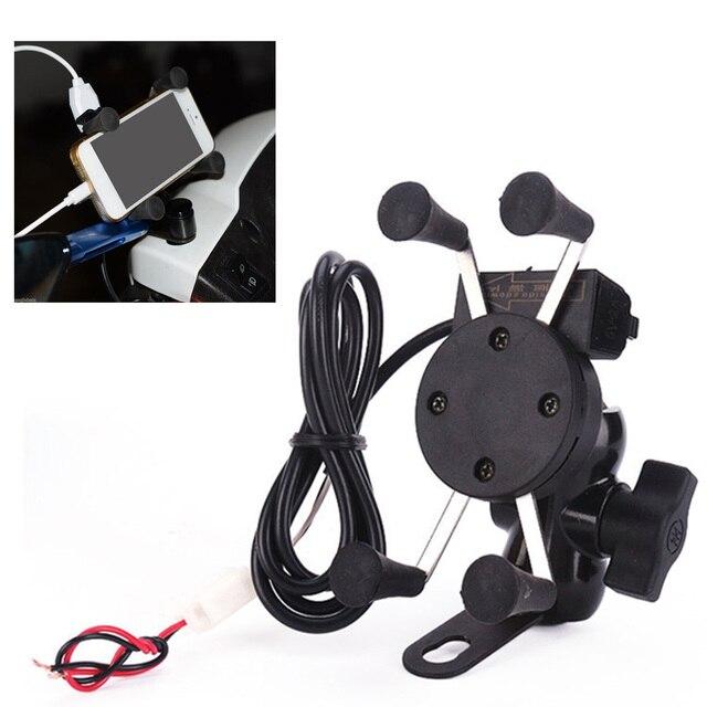 Soporte de montaje para teléfono móvil de motocicleta Besegad con cargador USB rotación de 360 grados para Moto 3,5-6 pulgadas GPS scooter