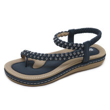 Yu Kube Summer Shoes Woman Sandals Rhinestone Sandalias Mujer 2019 NEW Elastic Thong Shoes For Women Soft Sandals Plus Size(China)