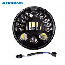 7Inch LED Black Round Adaptive Motorcycle Headlight with Projector Round Headlamp for Harley Lada Niva Motorcycles Accessoris