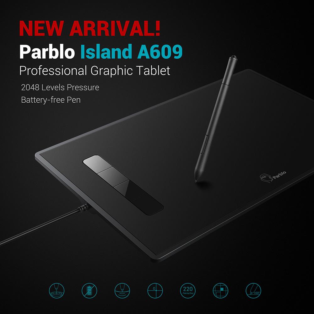 Prix pour Parblo L'île A609 Graphique Dessin Tablet 8x5 pouces 220 RPS 5080 LPI avec 2048 Niveaux Pression Batterie-Plume libre