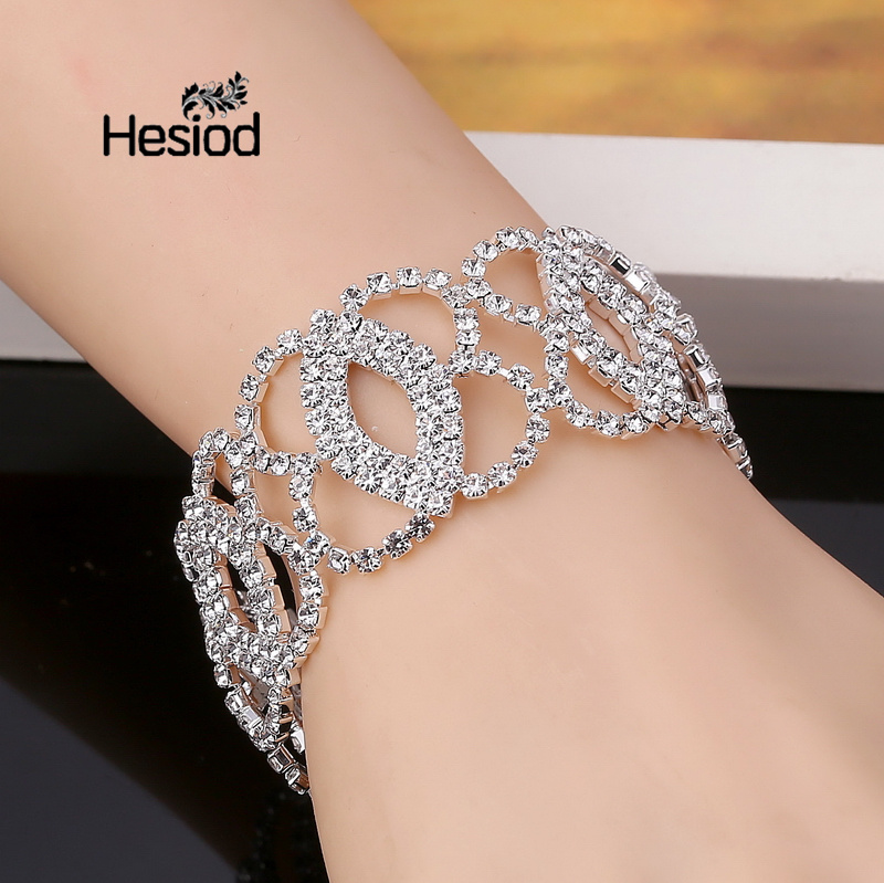 Hesiod Luxury Crystal Bracelets For Women Silver Color Link Bracelet Bangle Fashion Bridal Wedding Rhinestone Jewelry