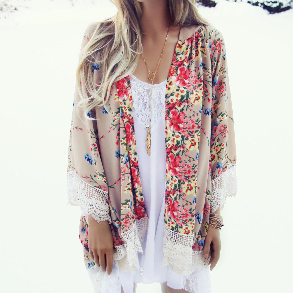 6c52d003a27 Long Sleeve Kimono Shirt Summer Women Print Tops Blouse Female Lace Chiffon  Vintage Kaftan Cardigan Lace
