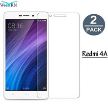 hot deal buy [2 pack] xiaomi redmi 4a tempered glass screen protector 9h hardness 2.d round edge protective glass film for xiaomi redmi 4a