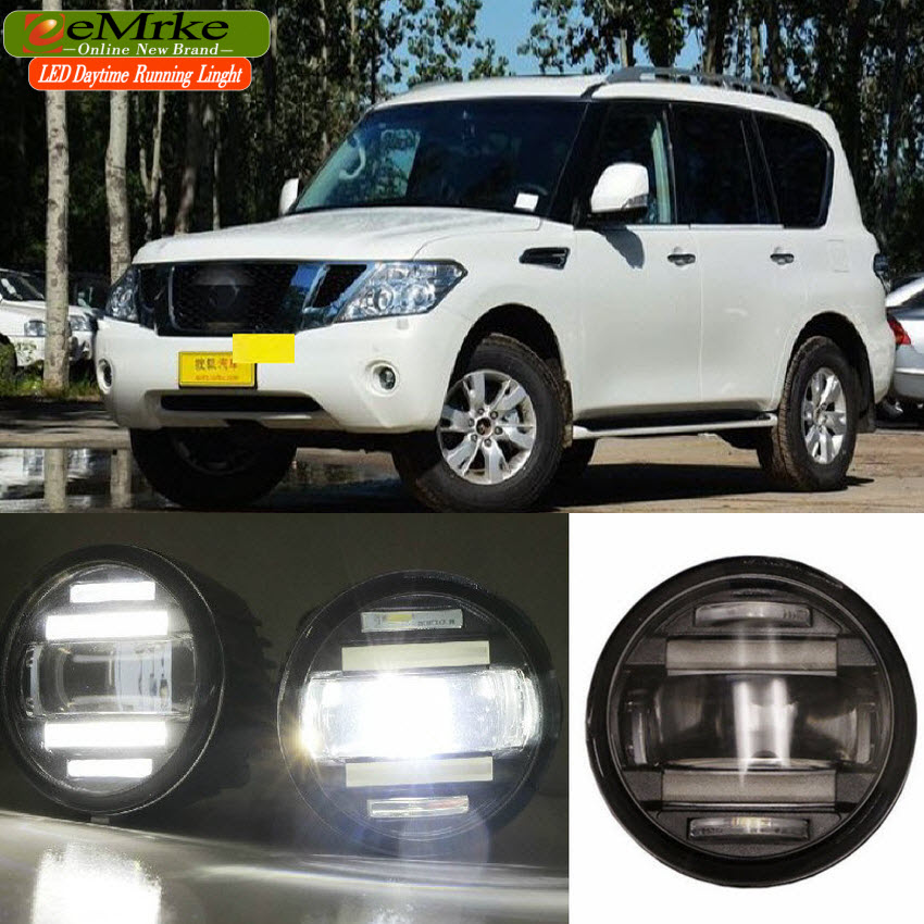 eeMrke Car Styling For Nissan Patrol Armada Y62 2 in 1 Multifunction LED Fog Lights DRL With Lens Daytime Running Lights eemrke car styling for opel zafira opc 2005 2011 2 in 1 led fog light lamp drl with lens daytime running lights