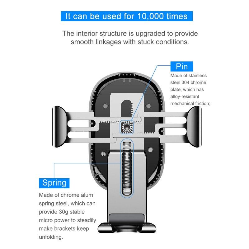 Image 3 - Baseus Qi Support de chargeur voiture  Pour téléphone pour iPhone Samsung Charge rapide, Support monté, sortie dair, Support à gravité 10WSupport universel pour voiture   -