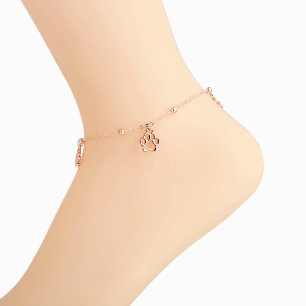 Qimingボヘミア女性ジュエリービーチセクシーなラウンド犬の足かわいい女の子アンクレットゴールド銀夏ビーチ足首ブレスレットギフト
