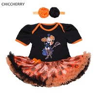 The Little Witches Newborn Baby Girl Clothes Dresses Headband Girls Halloween Costume Fantasia Infantil Menina Vestido
