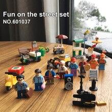 Replace Legoness City 60134 Street People Pack Set Mini Pizza Bike Hotdog figures Building Blocks Toys Children Christmas Gift