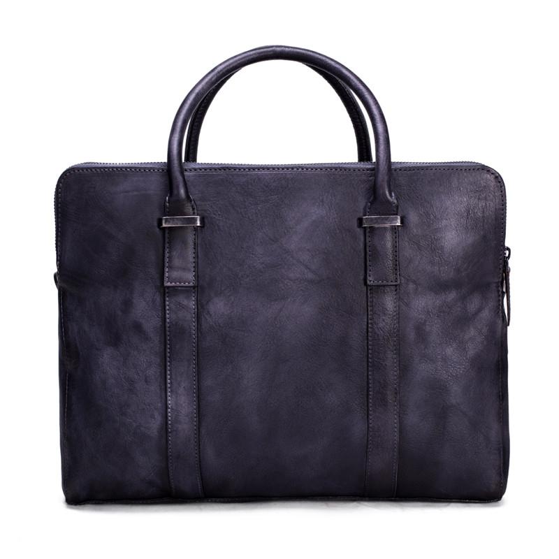 Vintage Vegetable Tanned Men Leather Briefcase Messenger Bag Laptop Bag 1