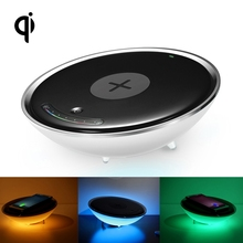 Multi function QI Standard Wireless Charger For Samsung S7 Android Phone Hemisphere Shaped Colorful Night Light