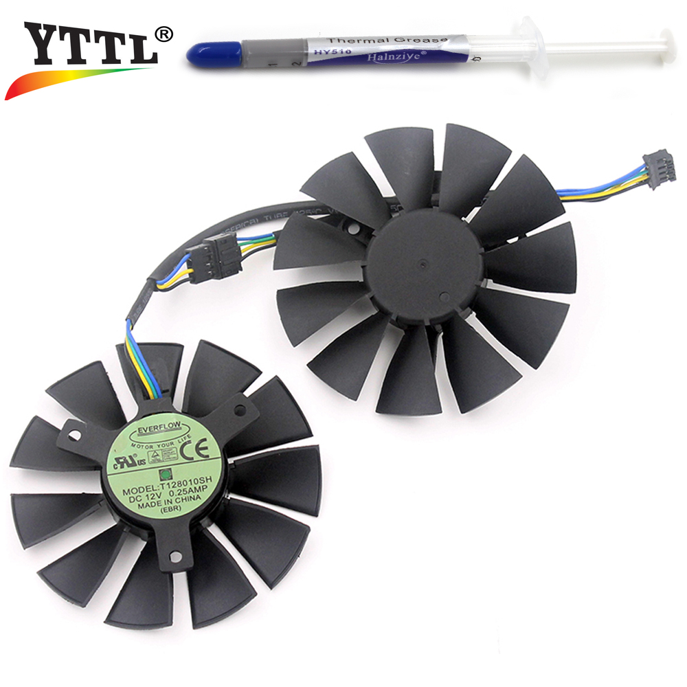 75MM Everflow T128010SH DC 12V 0.25A 4PIN EBR 40mm Cooler Fan For ASUS Strix GTX 750 TI 960 Graphics Video Card Cooling Fans
