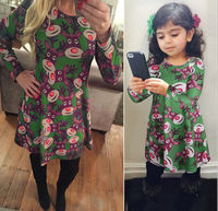 New Women Baby Girls Santa Print Christmas Deer Party Dress Mother And Daughter Match Dress New